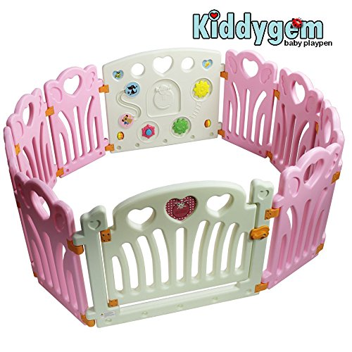 Kiddygem baby Playpen, Angel wings and hearts, Pink
