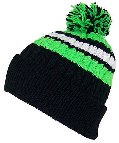 - Best Winter Hats Quality Cable Knit Cuffed Winter Hat W/Large Pom Pom (One Size)(Fits Large Heads) - Black/Neon Green/White