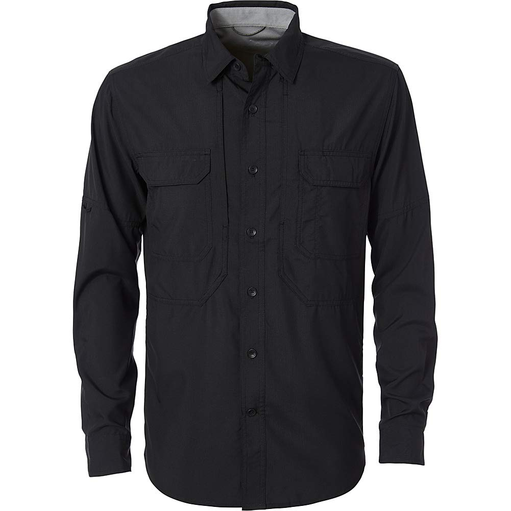 Royal Robbins Men's Expedition Dry Long Sleeve Button Down Shirt, Large, Jet Black