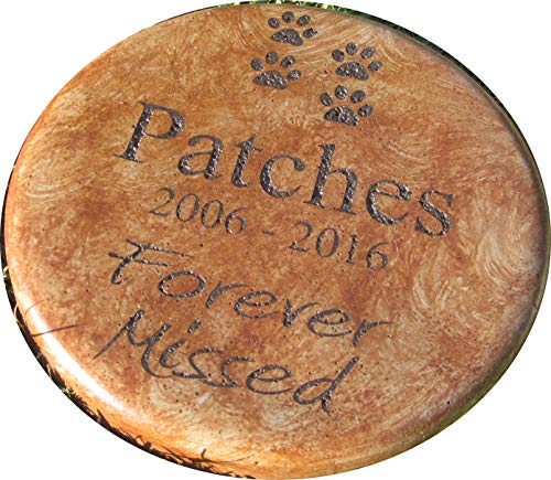 Personalized Engraved Pet Memorial Step Stone 7.5″ Diameter 'Forever Missed' For Sale