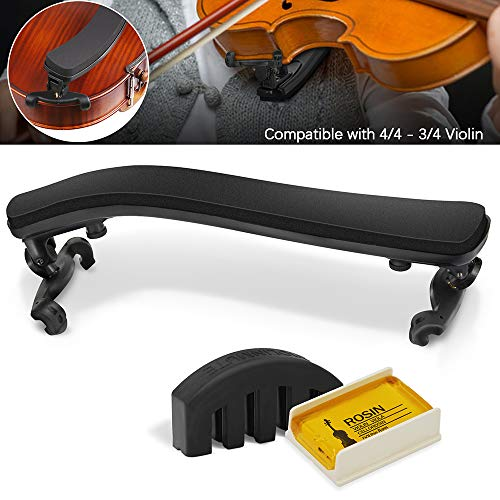 Violin Shoulder Rest for 4/4-3/4 size,Collapsible and Height Adjustable Feet,Violin universal Type Violin Parts soft easy to use,High strength sponge(Black),Including Violin Mute and Violin rosin (3 4 Violin Mute)