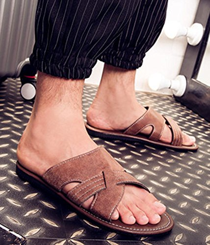 Idifu Hommes Antidérapant Durable Bout Ouvert Sandales Plates Piscine Plage Pantoufles Dété Brun Clair