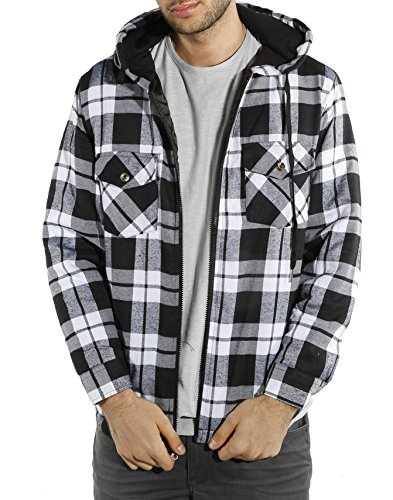 Plaid Hooded Flannel Jacket (Men's Classic Flannel Plaid Hooded Jacket (X-large, Black / White / Grey))