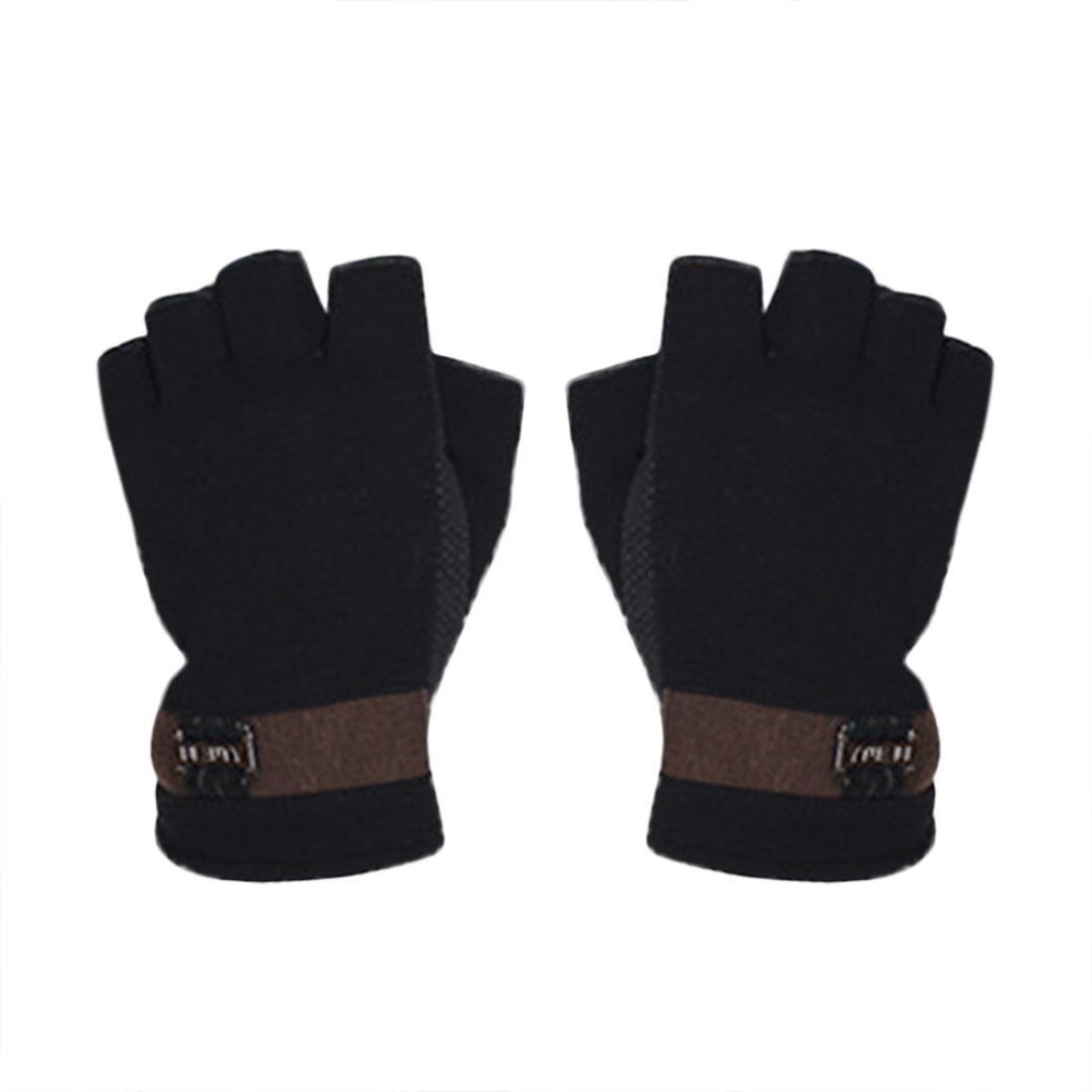 guantes sin dedos hombre, Sannysis Guantes deportivos Gimnasio Guantes medio dedo respirable del levantamiento de pesas con mancuernas fitness Gimnasio Hombres Ciclismo Invierno