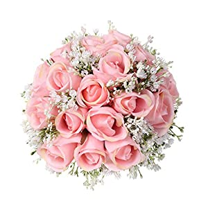 Mikilon Artificial Flowers Rose Bouquet, Fake Flowers Silk Plastic Artificial Roses with Gypsophila Bridal Wedding Bouquet for Home Garden Party Wedding Decoration (Pink) 27