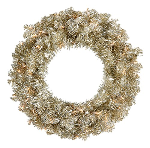 Vickerman Pre-Lit Champagne Gold Sparkling Tinsel Artificial Christmas Wreath with Clear Lights, 24''