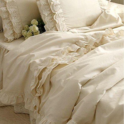 Brandream Girls Korean Ruffle Bedding Sets Romantic Ivory Duvet Covers King Size 4 Piece Sheets Set Luxury Satin Fabric