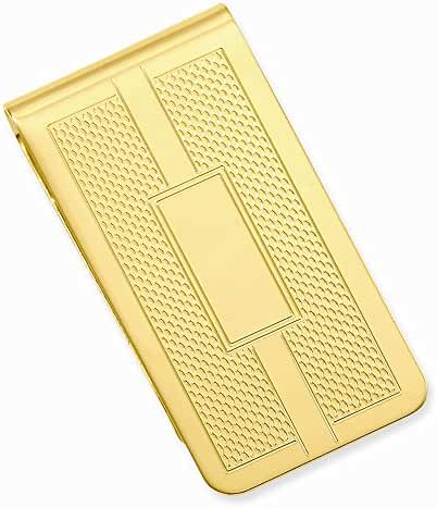 14k Gold Plated Honey Comb & Square Engravable Money Clip