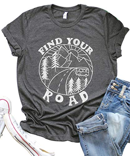 (LANMERTREE Find Your Road O Neck T-Shirt Women Funny Letter Print Short Sleeve Blouse Tee (L, Grey))