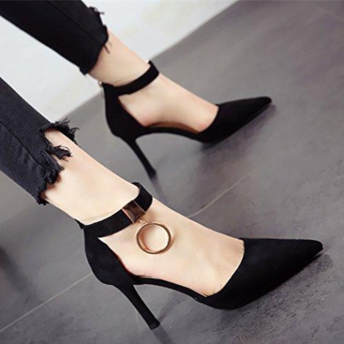 e scarpe lady's lavoro metallo scarpe Estate da aguzza di sottile moda alta stile YMFIE Europeo a zipper temperamento tacco alla punta sandali in Primavera SBU4qwn7Z