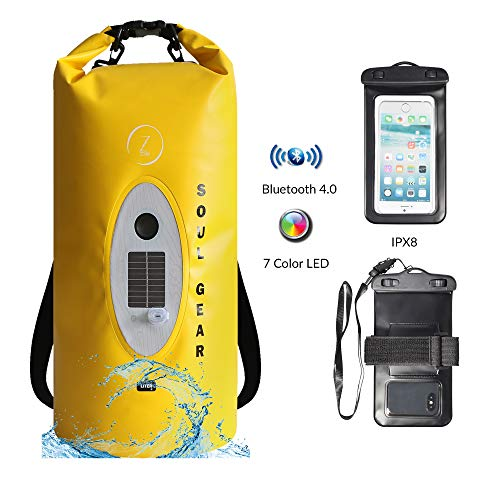SOUL GEAR Roll Top Waterproof Dry Bag Backpack 10L/20L + USB Solar Wireless Bluetooth Speaker & LED Light + IPX8 Phone Case, Enjoy Music and Keep Camping Gear Protected from Outdoor Elements (20L)