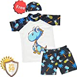 boy Sunsuit Swimwear Sets (XXXL/7-8Y, White-Triceratops)
