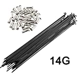 SENQI 36pcs 14G J Bend Bicycle Steel Spokes 170mm-290mm W/Nipples