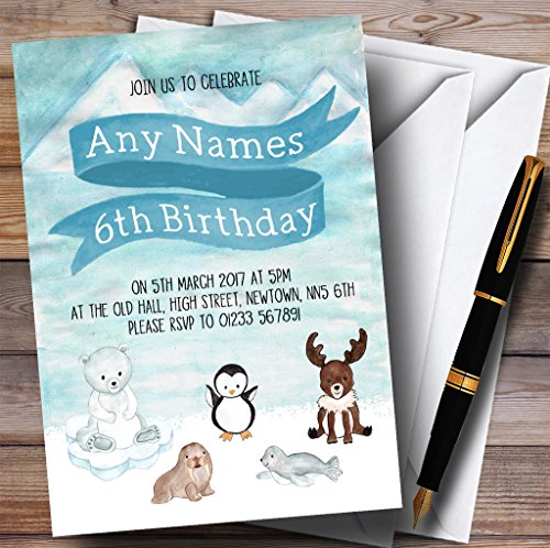 Polar Ice Animals Childrens Birthday Party Invitations by The Card Zoo