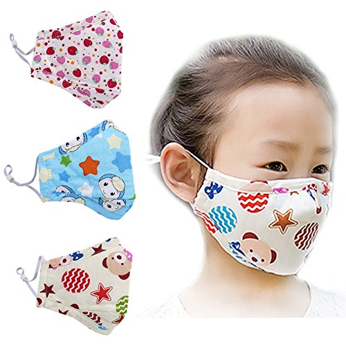 [ZWZCYZ 3Pcs Kids Cartoon Cars Cotton Mask Children's PM2.5 Guaze Mask Dustproof Face Mask with N95 Filters (Strawberry+Blue Star+Little Bear)] (Kids Face Mask)