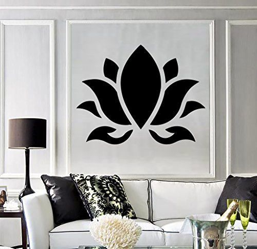 Large Vinyl Wall Decal Lotus Flower Buddhism Hinduism Yoga Stickers (394ig) Dark Blue