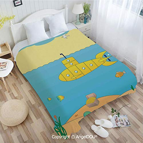 - AngelDOU Soft Warm Flannel Fleece Blanket W31 xL47 Cartoon Under Sea Adventure Jellyfish Treasure Chest Seagull Fish for Living Room/Bedroom.