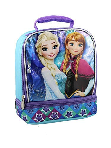 Frozen Girl's Dual Compartment Soft Lunch Box (Blue/Purple)