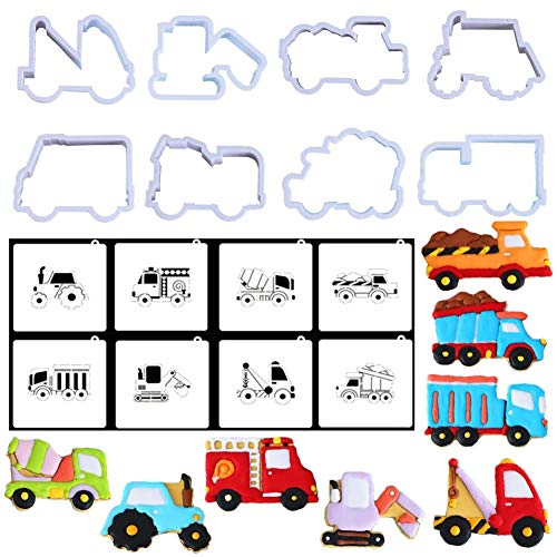 (Bozoa 3D Truck Car Cookie Cutter with Cookie Stencils-Engineering Car Biscuit Mold Set for Kids Making Chocolate,Pastry,Cake Decorating and DIY Baking)