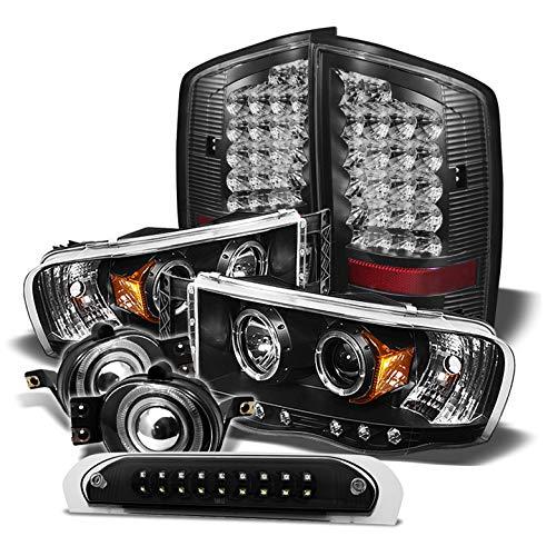 (Xtune for 2002-2005 Dodge Ram Black Halo Projector Headlights + LED Tail Lights + LED 3rd Brake Lamp + Projector Fog Lights 04)