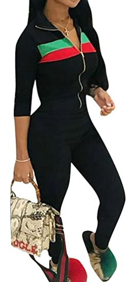 aafa5dc919 Oberora-Women 2 Piece Sport Color Block Zip Up Jacket and Pants Tracksuits  Outfits at Amazon Women s Clothing store