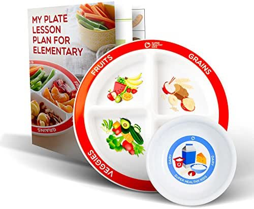 MyPlate Divided Kids Portion Plate Plus Dairy Bowl and Elementary Lesson Plan Teaching Tool