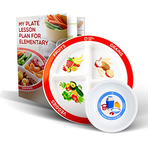 Plus Super School Tool - MyPlate Divided Kids Portion Plate Plus Dairy Bowl and Elementary Lesson Plan Teaching Tool