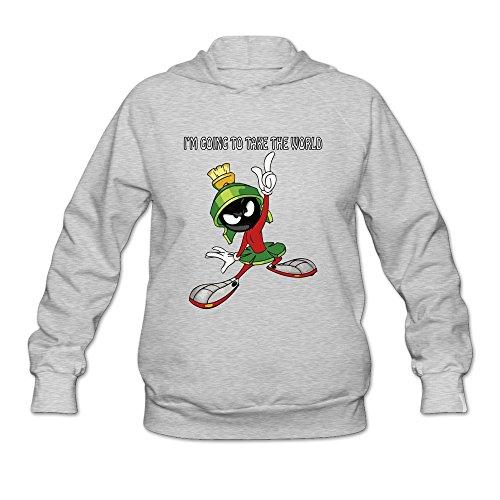 JUST Women's Movie Marvin The Martian Quote Hoodie Sweatshirt Ash