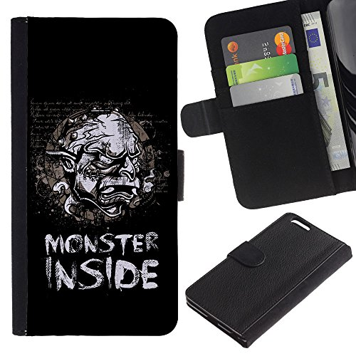 EuroCase - Apple Iphone 6 PLUS 5.5 - Funny Monster Inside Retro Vintage Poster - Cuir PU Coverture Shell Armure Coque Coq Cas Etui Housse Case Cover