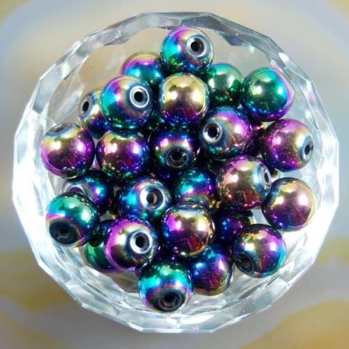 AD Beads Natural Gemstone Round Spacer Loose Beads (8mm 50pcs, Hematite Multi-Colored)