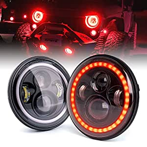 Amazon Com Xprite 7 Quot 80w Cree Led Headlights With Red