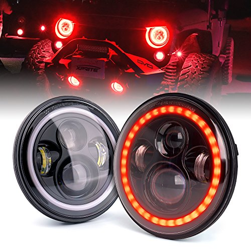 Xprite 7″ 80W CREE LED Headlights With Red Halo for Jeep Wrangler JK TJ LJ 1997-2018(DOT Approved), CREE LED Chip, 9600 Lumens Hi/Lo Beam with Halo Ring Angel Eyes