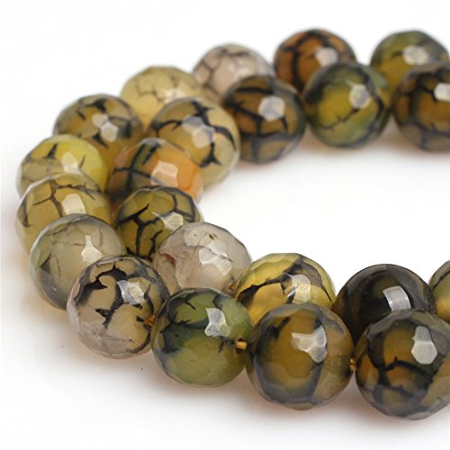 Stone Agate Precious Semi (Joe Foreman Yellow Crackle Agate Beads for Jewelry Making Gemstone Semi Precious 8mm Round Faceted 15