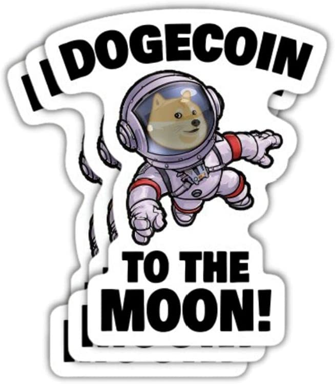 Dogecoin Sticker Astro Space Walk (Pack of 3 + Bonus) Premium Vinyl Decal for Fans of Dogecoin, Doge, Cryptocurrency, Crypto, Blockchain, Bitcoin, Wallstreetbets, Gamestop, Stonks