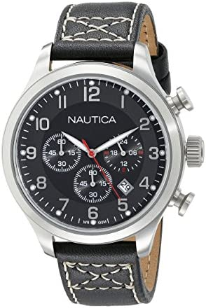 Nautica Men s A14696G BFD 101 Chrono Analog Display Analog Quartz Black Watch