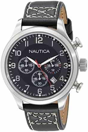 Nautica Men s A14696G BFD 101 Chrono Analog Display Analog Quartz Black  Watch bd65d35dd43