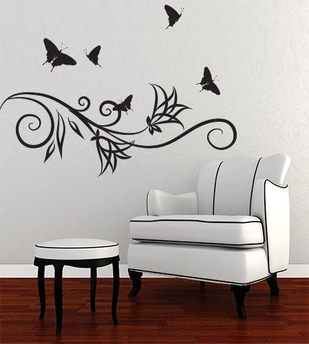 Adesivi Creativi Adesivo Murale Ramo stilizzato con farfalle ...