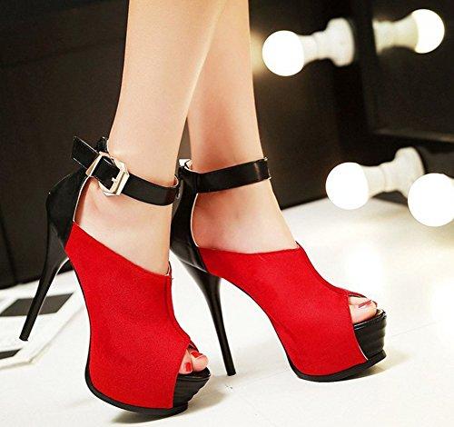 Bouche De Rouge Poisson Talon Femme Sandales Plateforme Aiguille Aisun Mode z1FWtBE