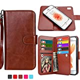 iPhone 6S Plus Case, HESPLUS [Detachable Wallet] iPhone 6 Plus Wallet Case with [9 CARD SLOT][ID HOLDER][WRIST STRAP] - Premium Magnetic Leather Flip Cover Case for iPhone 6/6S Plus - Brown