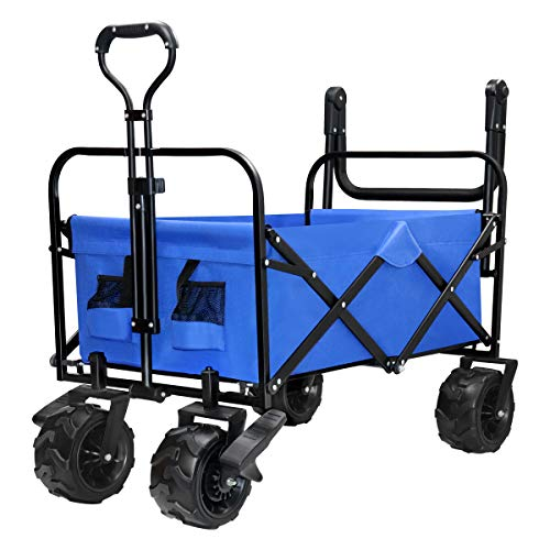 YONGFENG Folding Push Collapsible Wagon Cart Heavy Duty Sturdy Canvas Fabric with PU Wheel and Brake for Beach Sand Buggies Outdoor Garden Sport Picnic Shopping (Blue) ()