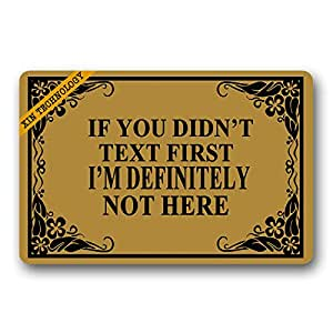 "Artsbaba Doormat Personalized Your Text Door Mat If You Didn't Text Doormats Monogram Non-Slip Doormat Non-woven Fabric Floor Mat Indoor Entrance Rug Decor Mat 23.6"" x 15.7"""