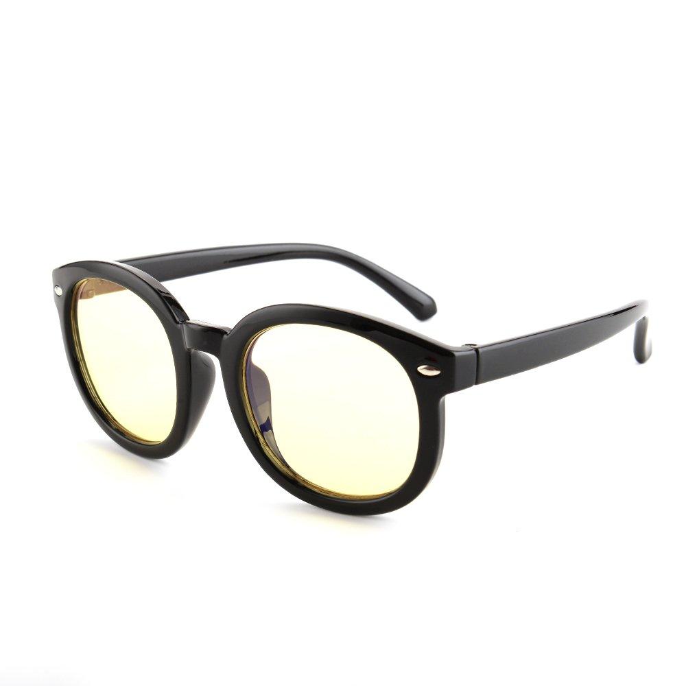 Gudzws Blue Light Blocking Glasses for Kids Teens Boy & Girl Anti Eye Strain UV Computer TV Eyewear Soft Plastic Black Frame Child 5-13 Age(Wide Face)
