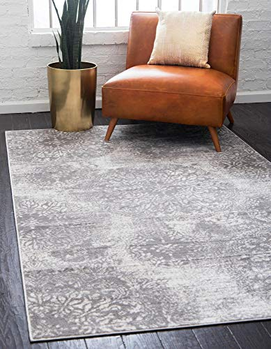 Unique Loom 3138682 Sofia Collection Traditional Vintage Beige Area Rug, 5' 0 x 8' 0 Rectangle, Light Gray (Area Rug Light Gray)