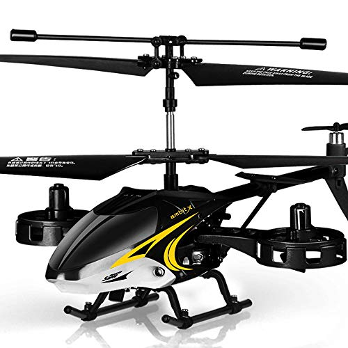 Mopoq Alloy Remote Control Aircraft Resistant to Unmanned Helicopter Aircraft Aircraft Charging Electric Boy Children Summer Vacation Gift Toy Black Shark ()