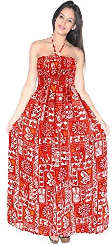 Traje Desgaste Correas Traje de la Vestido de para la de LEELA LA Tubo baño la Maxi Mujer j373 baño Encubrimiento Playa de Falda de de de Tarde del Rojo wOqgRZ