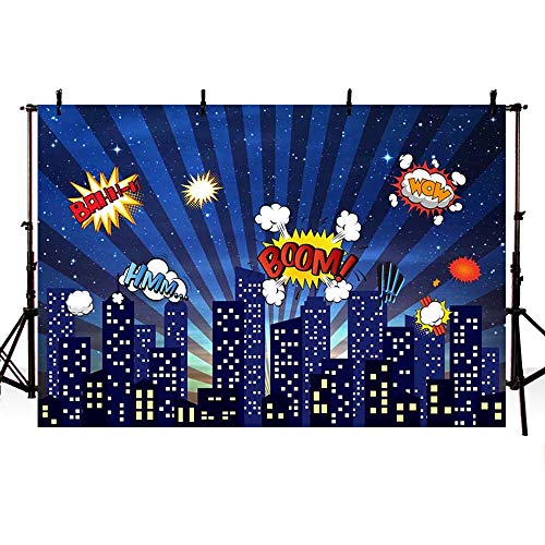 COMOPHOTO Superhero Cityscape Backdrop Banner 7x5ft Super Hero