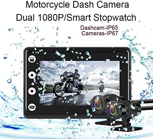 150 Degree Angle Video Driving Recorder with WiFi/&GPS Super Starvis Motorcycle Camera 256G Max Updated Motorcycle DVR Dash Cam 3.0 inch Dual HD 1080P Waterproof