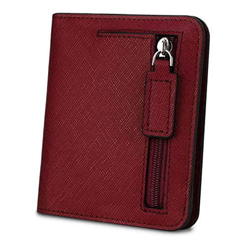 YALUXE Women's RFID Blocking Small Compact Leather Wallet Ladies Mini Purse with ID Window cross red RFID