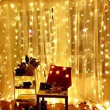 Ever Smart Curtain Lights, USB Powered 300 LEDs Warm White String Lights for Bedroom, 9.8x9.8Ft Waterproof & 8 Modes Flashing Fairy String Lights