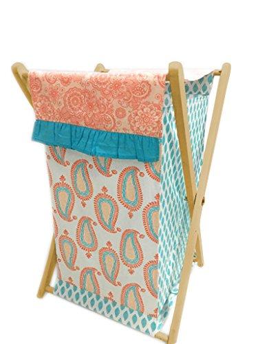 Bacati Sophia Paisley Hamper Cover with Natural Finish Wood Frame and Mesh Liner, Coral/Aqua ()